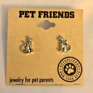 Post Earrings - CAT THEME - Silver Toned Metal NEW